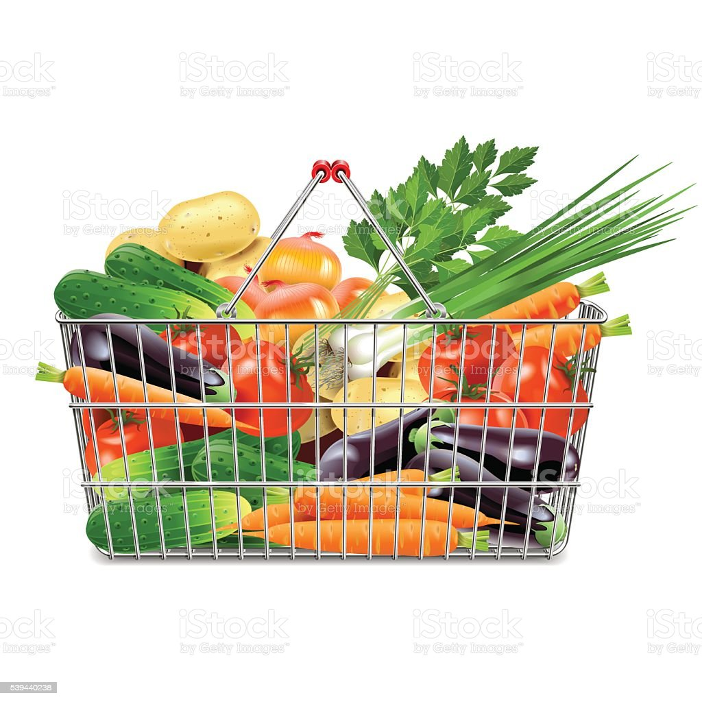 Vector Supermarket Basket with Vegetables vector art illustration