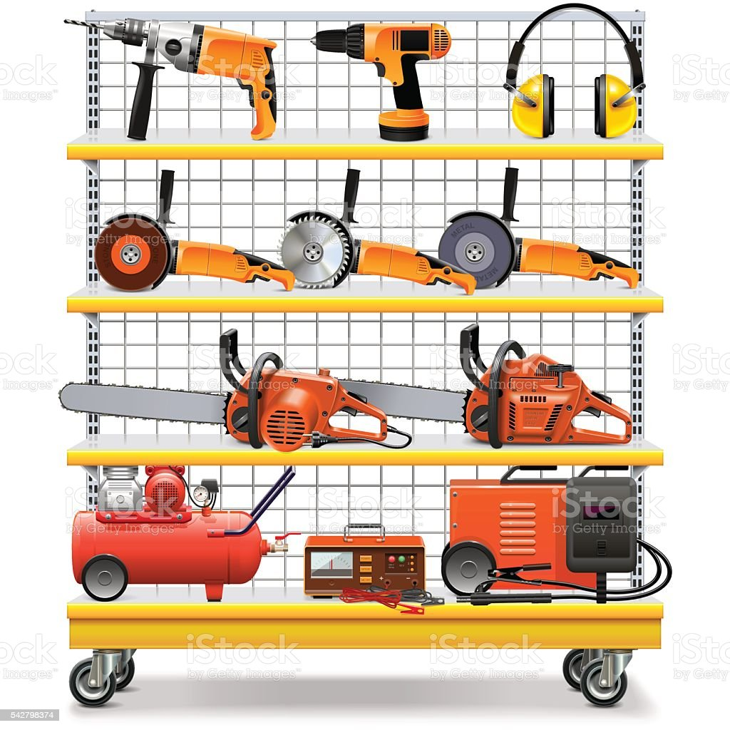 Vector Supermarket Shelves with Tools vector art illustration