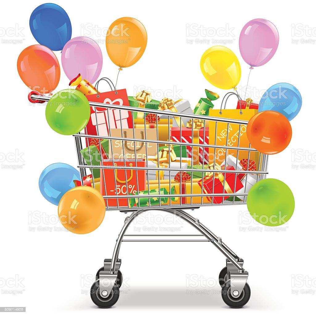 Vector Supermarket Trolley with Gifts vector art illustration