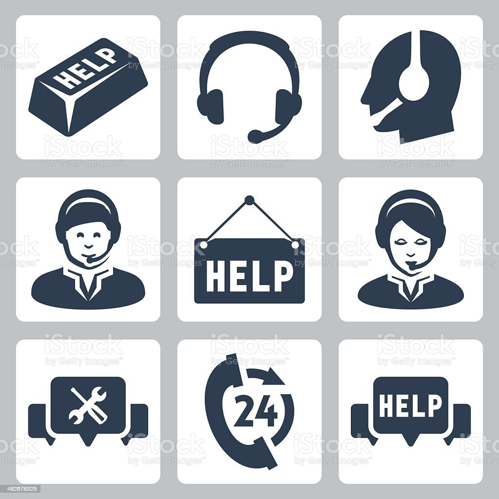 Vector support, call center icons set vector art illustration