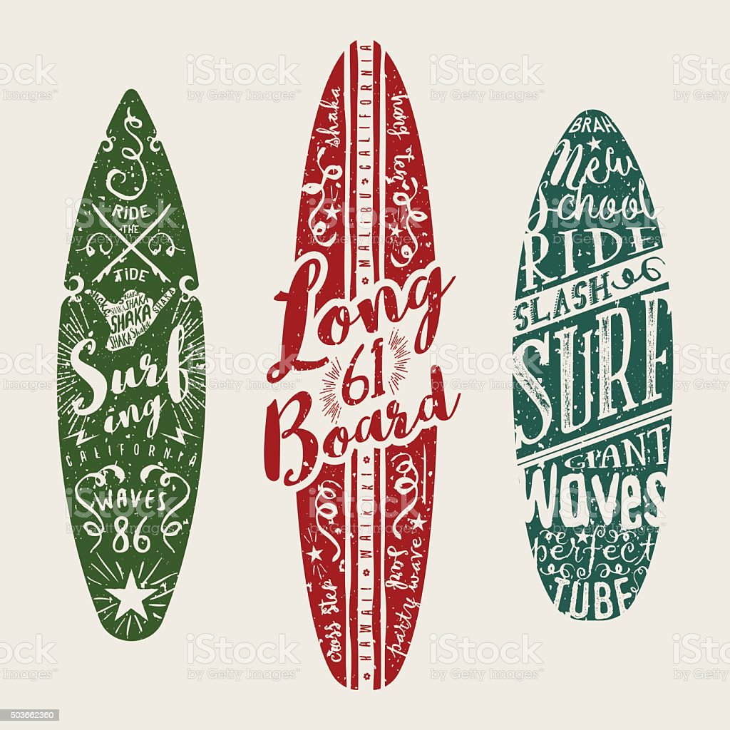 Vector Surf Graphics. Typographic decorated surfboards. vector art illustration