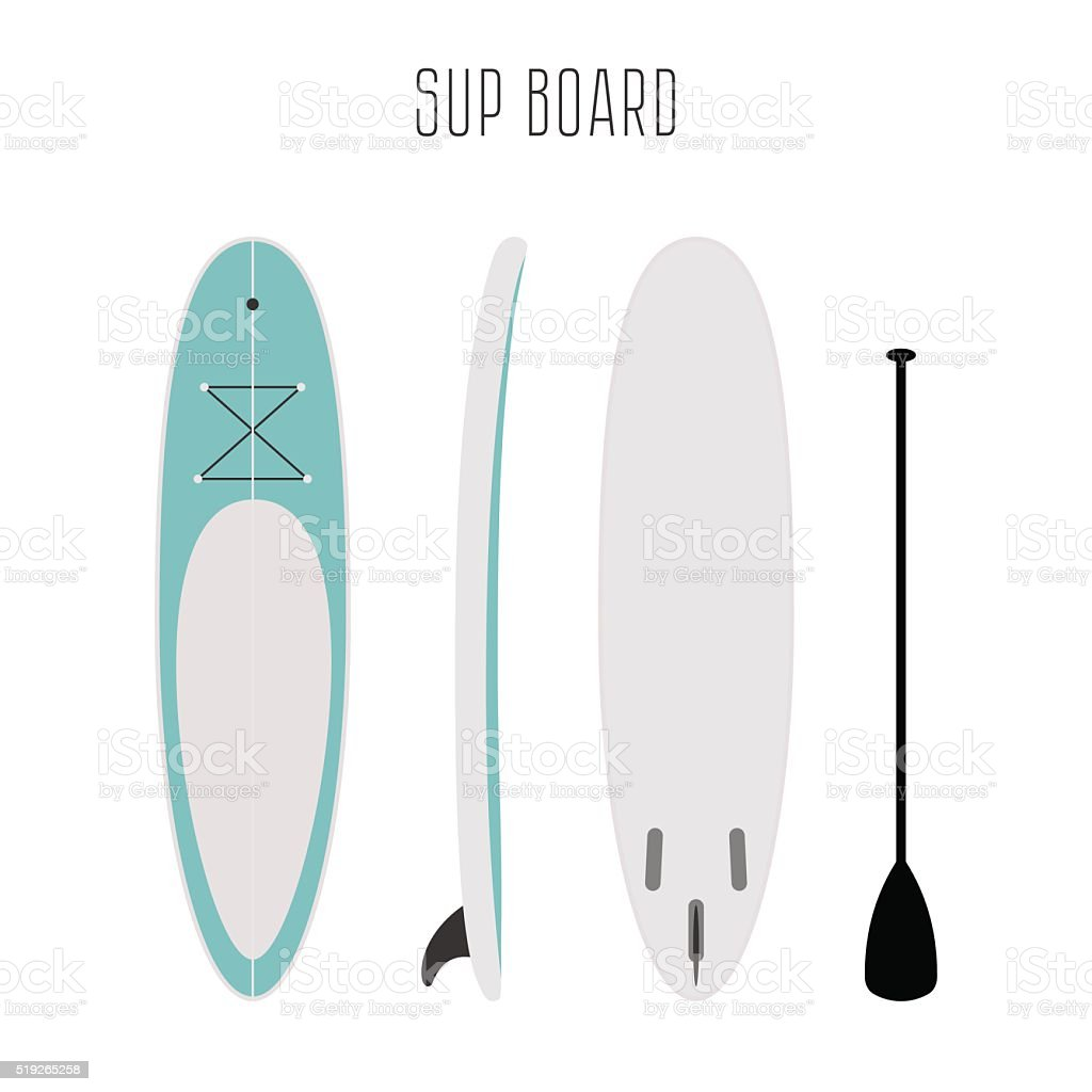 Vector surf sup board with three sides vector art illustration