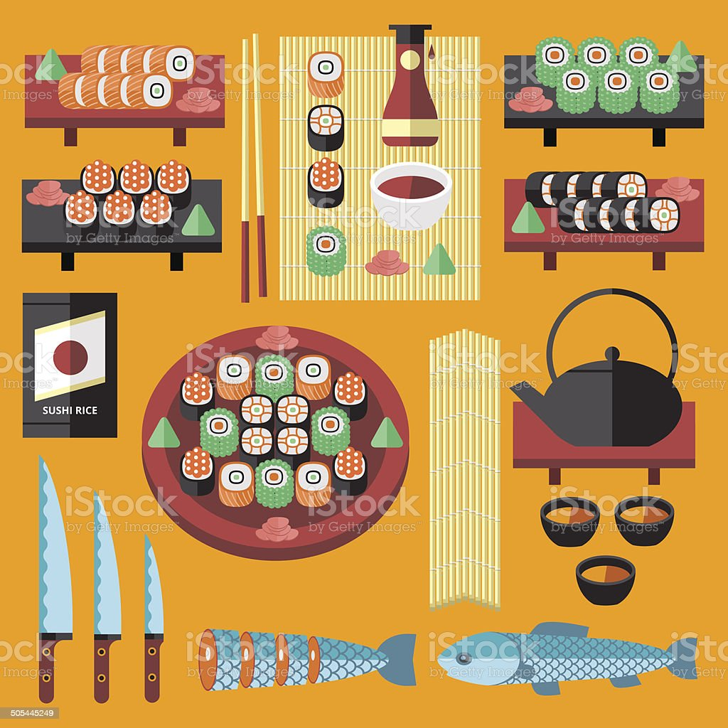 Vector sushi and Japanese food icons set. vector art illustration