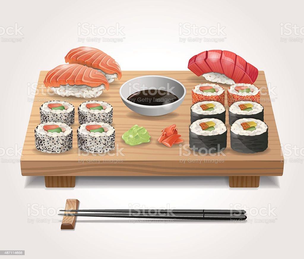 Vector Sushi Set vector art illustration