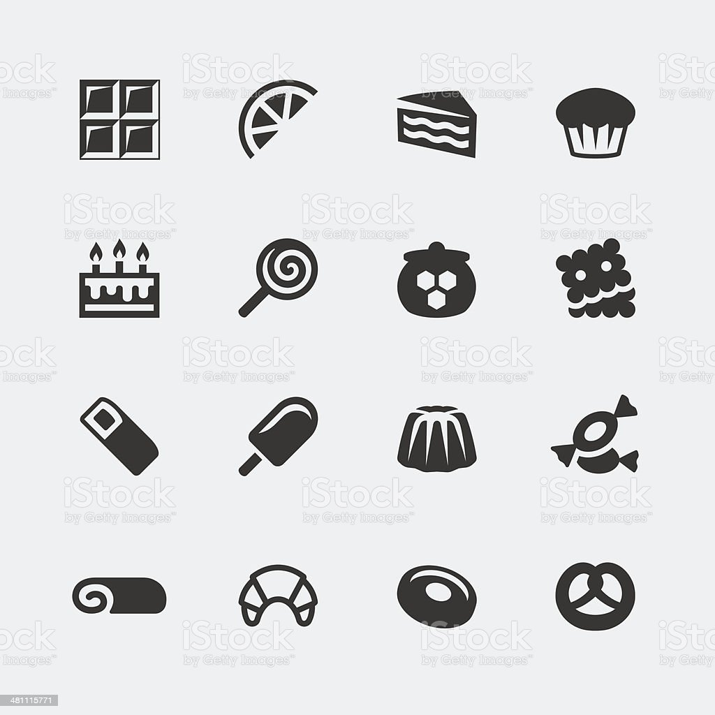 Vector sweets mini icons set vector art illustration