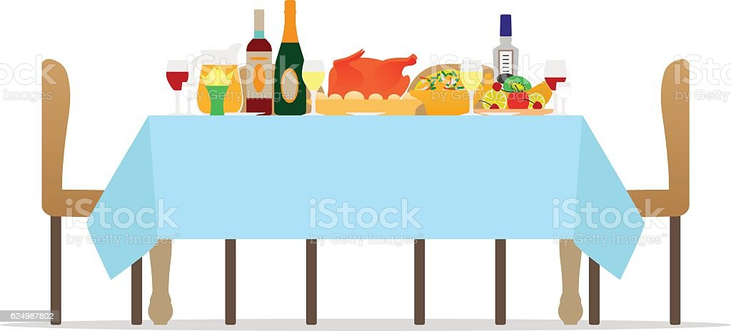 Vector table for festive holiday romantic dinner vector art illustration