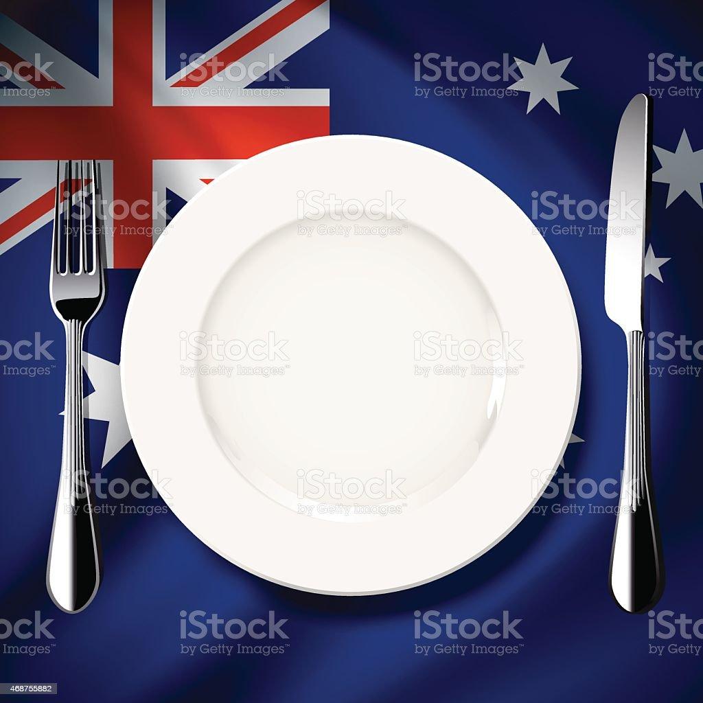 Vector table setting on Australia flag background vector art illustration