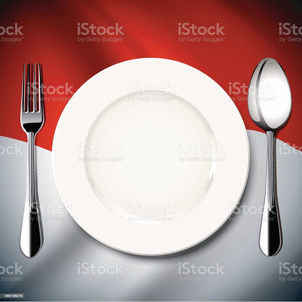 Indonesian Table Setting Vector Table Setting On Indonesia Flag Background Stock Vector Art