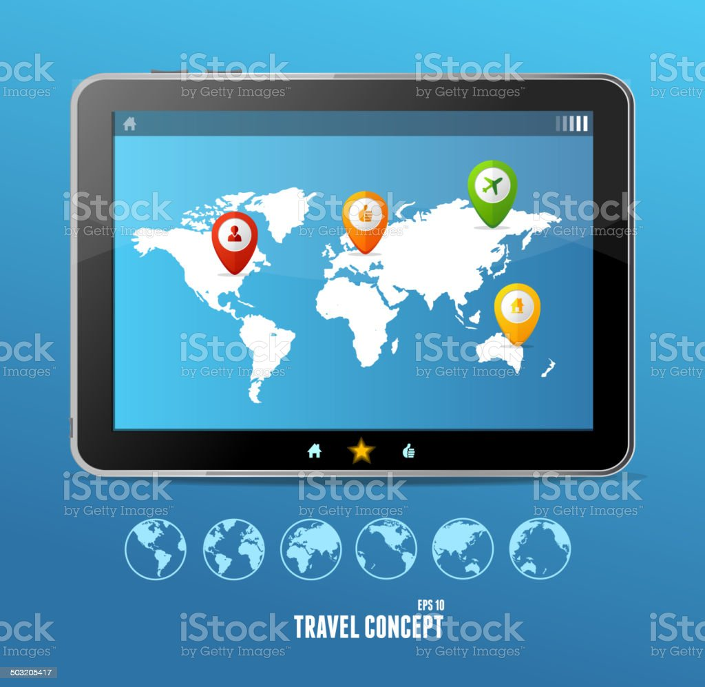 Vector tablet map and globe set. infographics vector art illustration