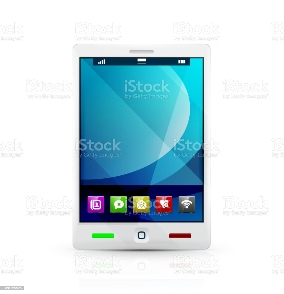 Vector tablet pc with application icons on desktop royalty-free stock vector art