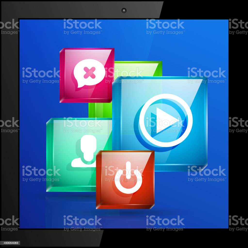 Vector tablet pc with application icons royalty-free stock vector art