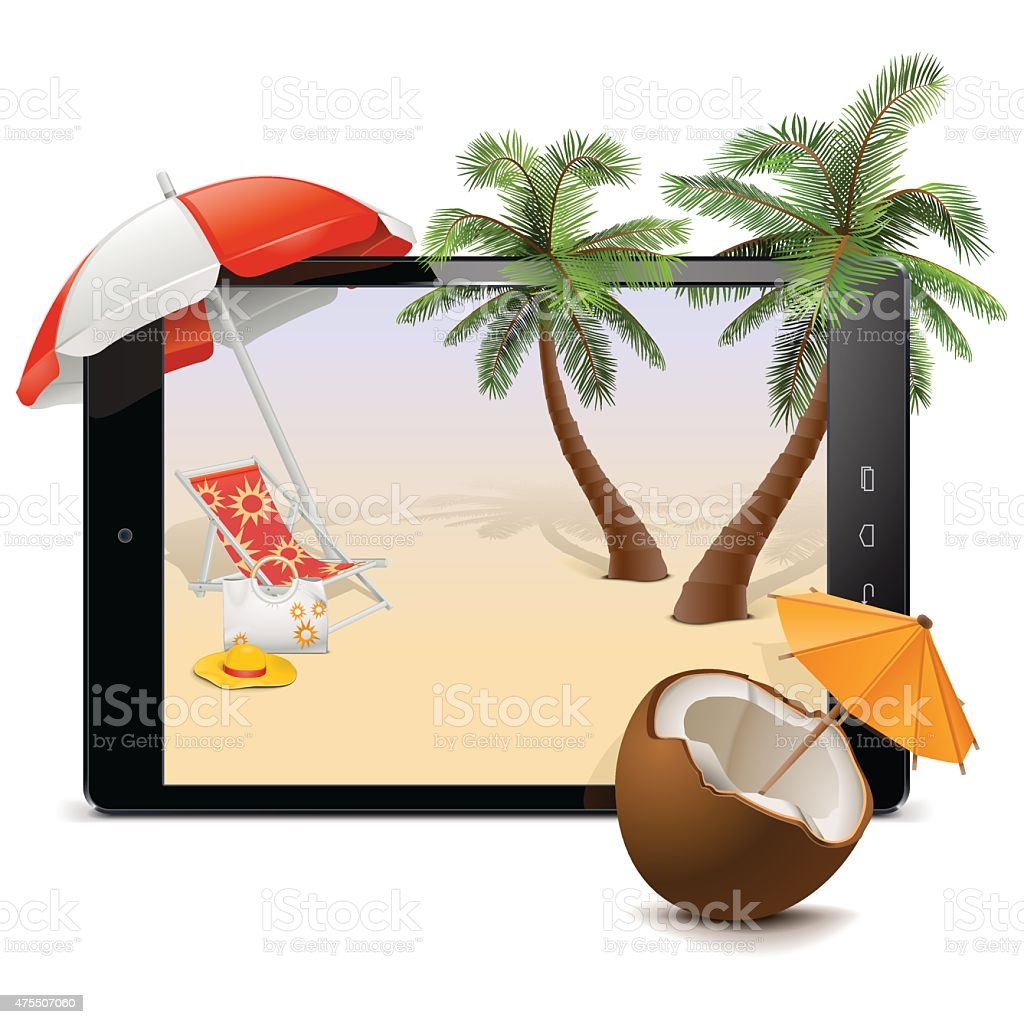 Vector Tablet PC with Tropical Resort vector art illustration