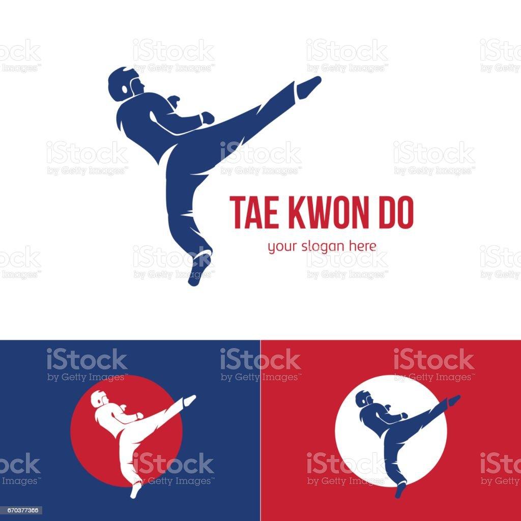 Vector taekwondo logo template. Martial arts badge. vector art illustration