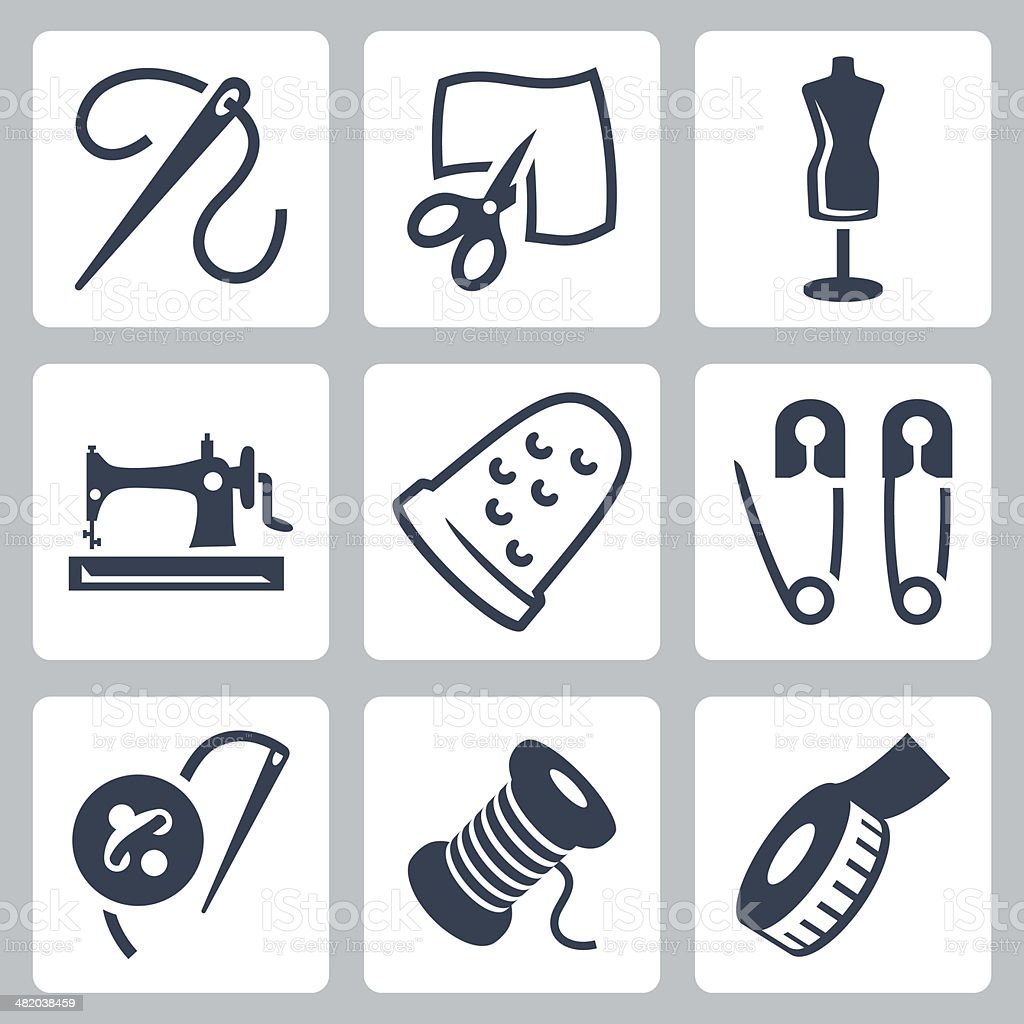 Vector tailor and sewing icons set vector art illustration