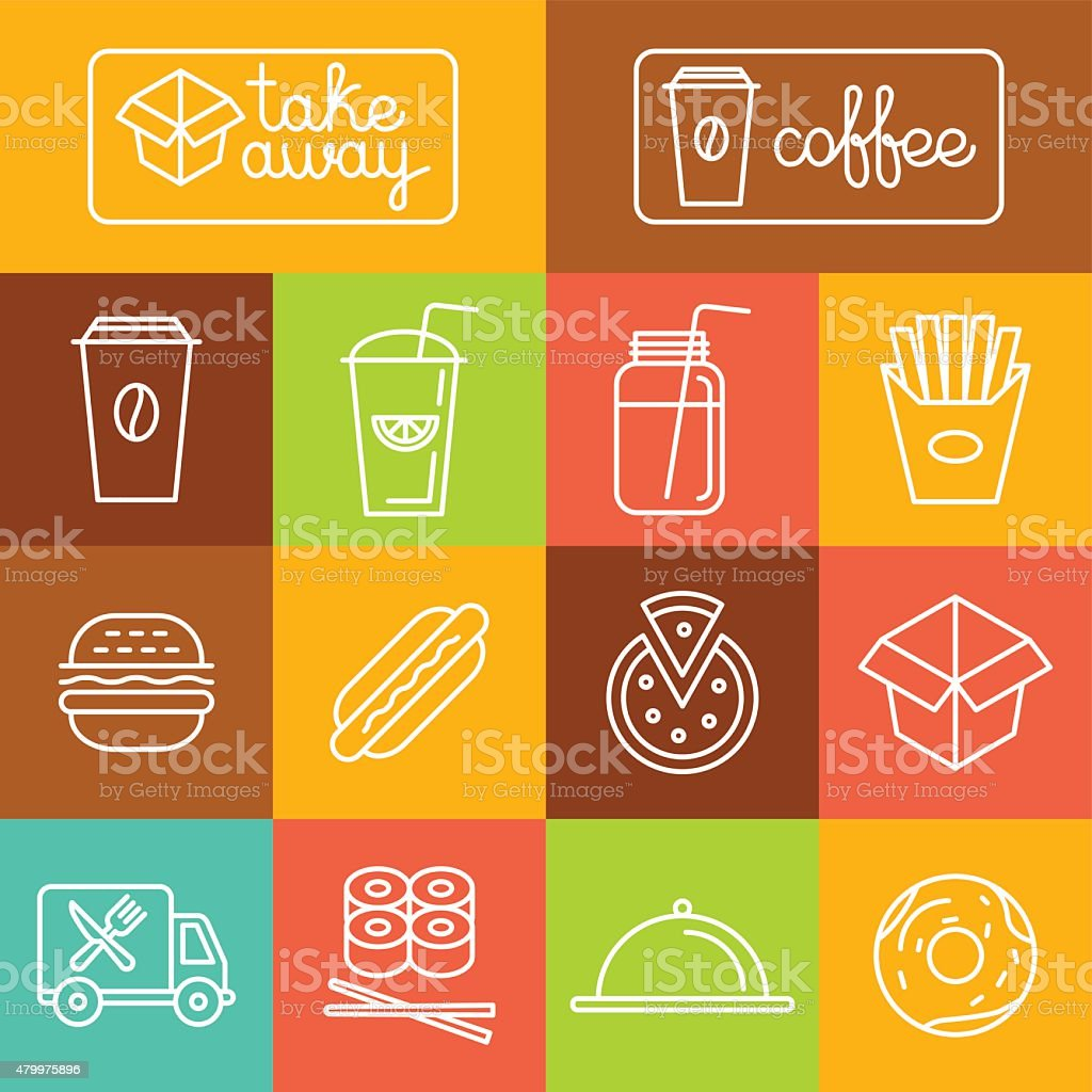 Vector take away food vector art illustration