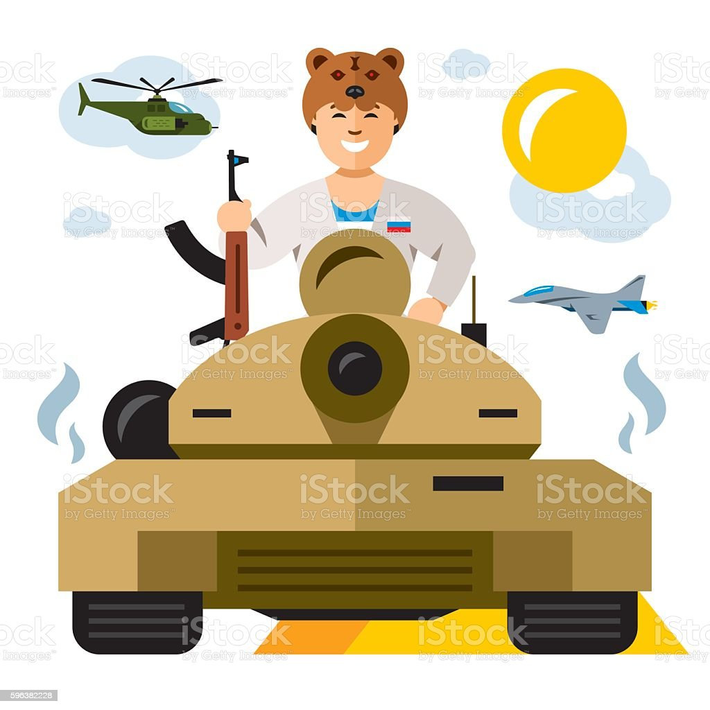 Vector Tankman. Russian military Army. The conflict in the Middle vector art illustration
