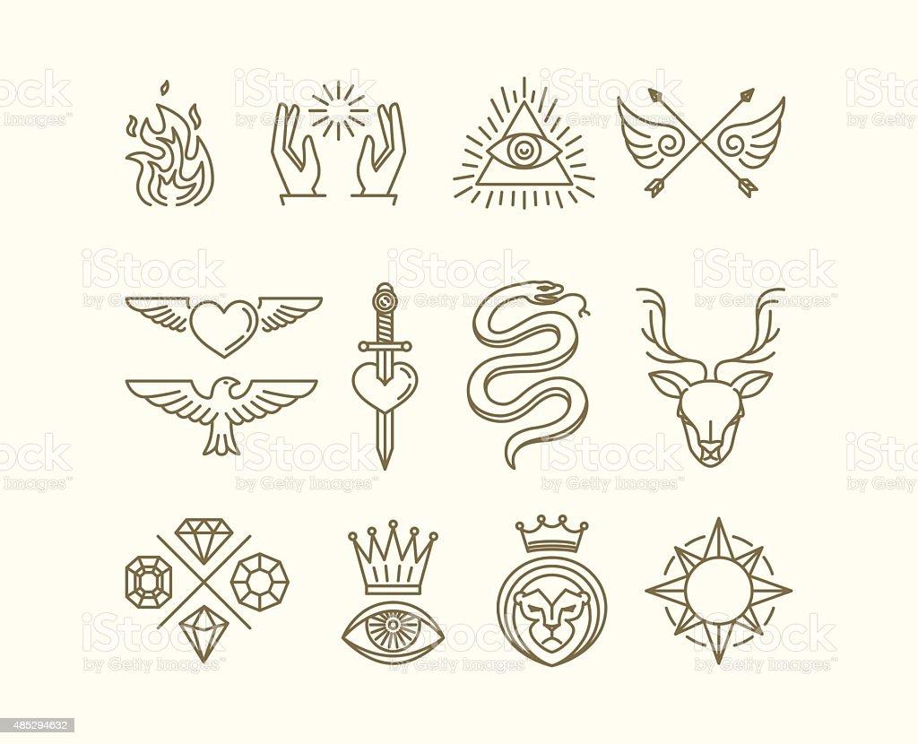 Vector tattoo set vector art illustration