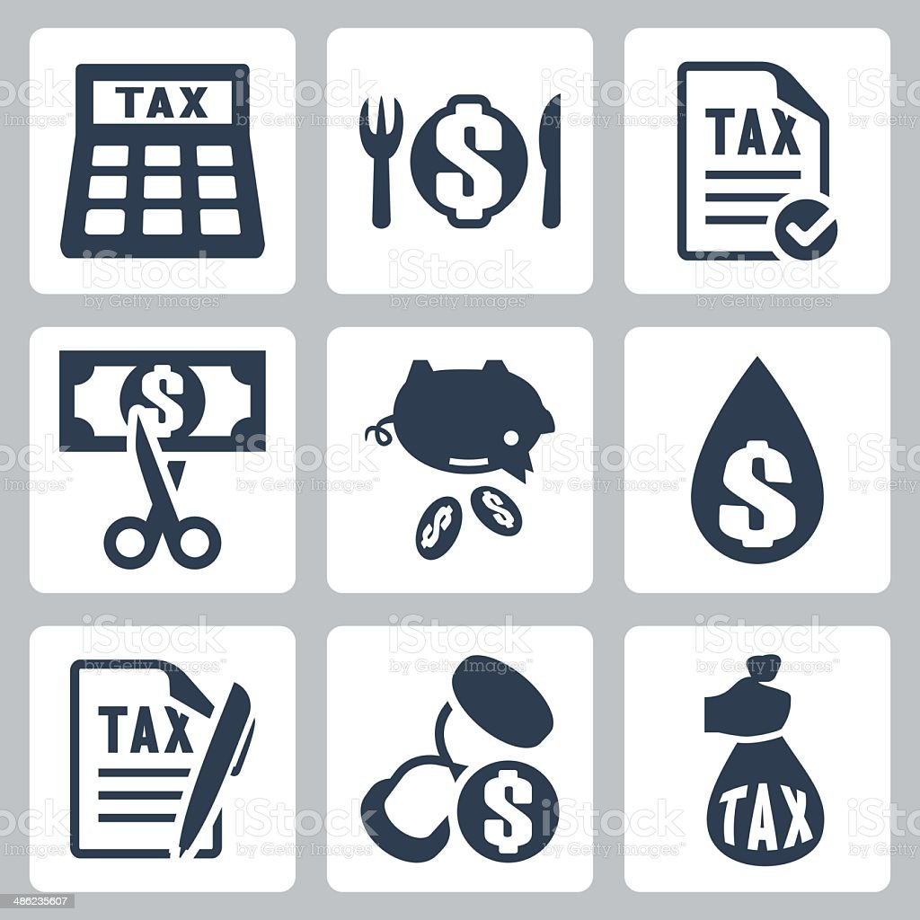 Vector tax icons set vector art illustration