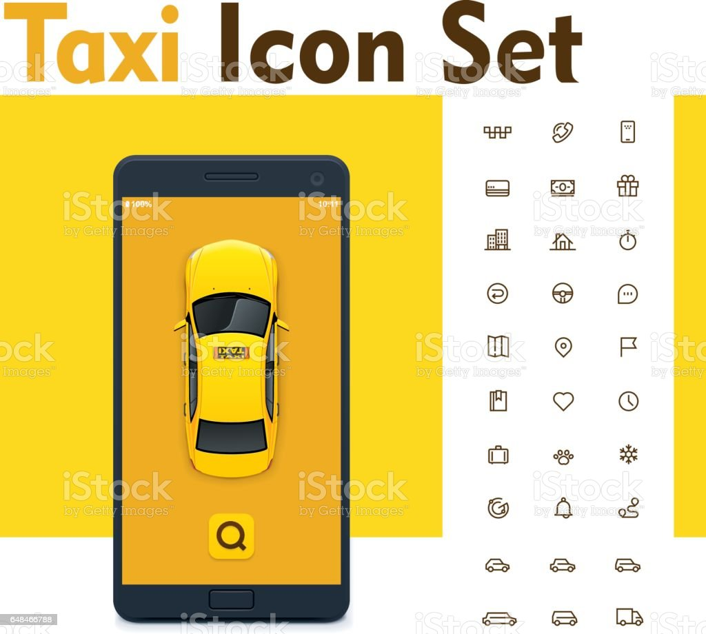 Vector taxi mobile app icon set vector art illustration