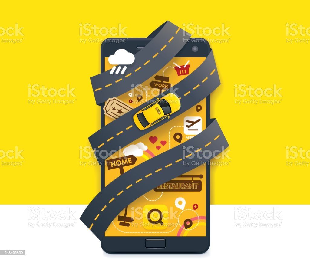 Vector taxi mobile app icon vector art illustration