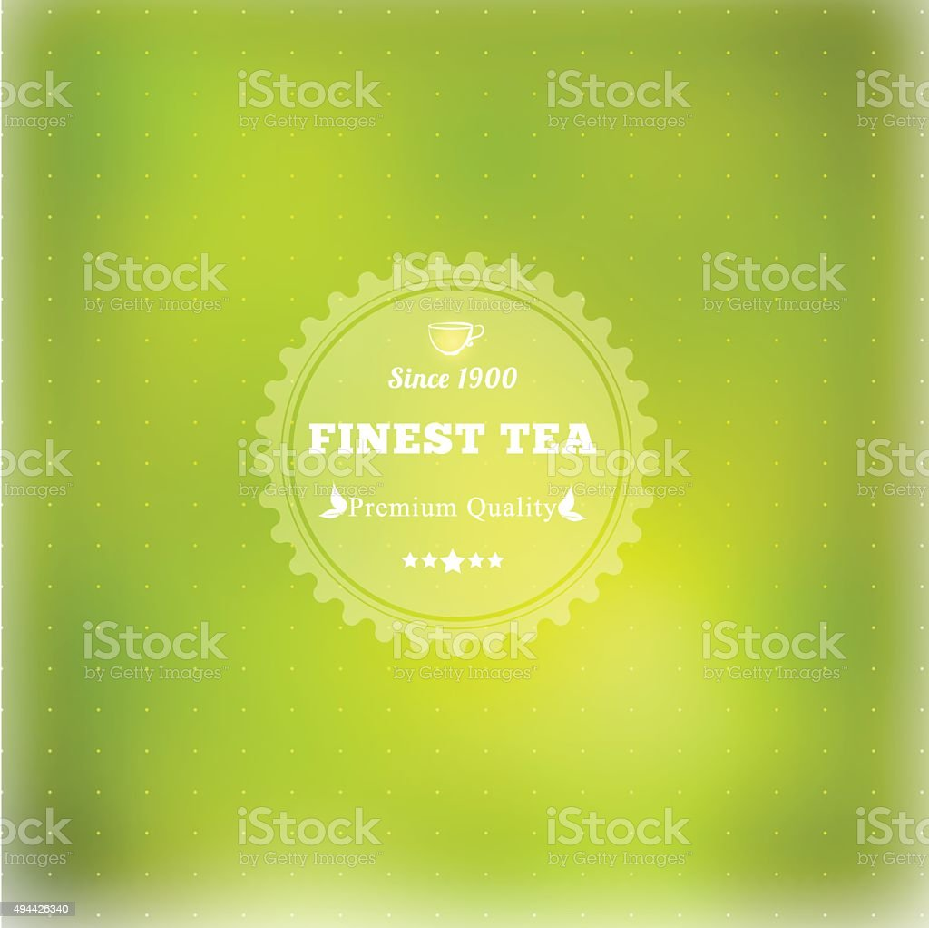 Vector tea badge infographics with leaves. vector art illustration