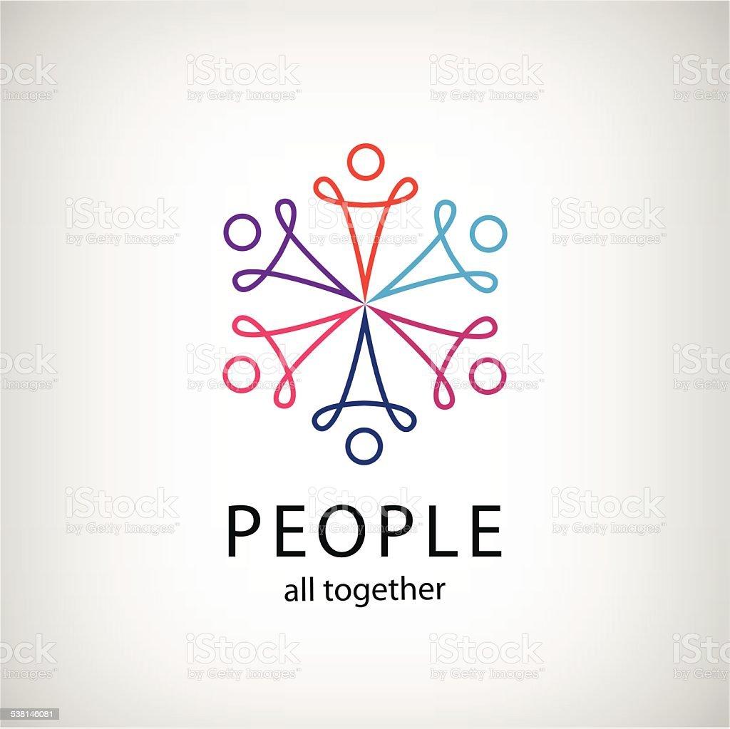 vector teamwork, social net, people together icon vector art illustration