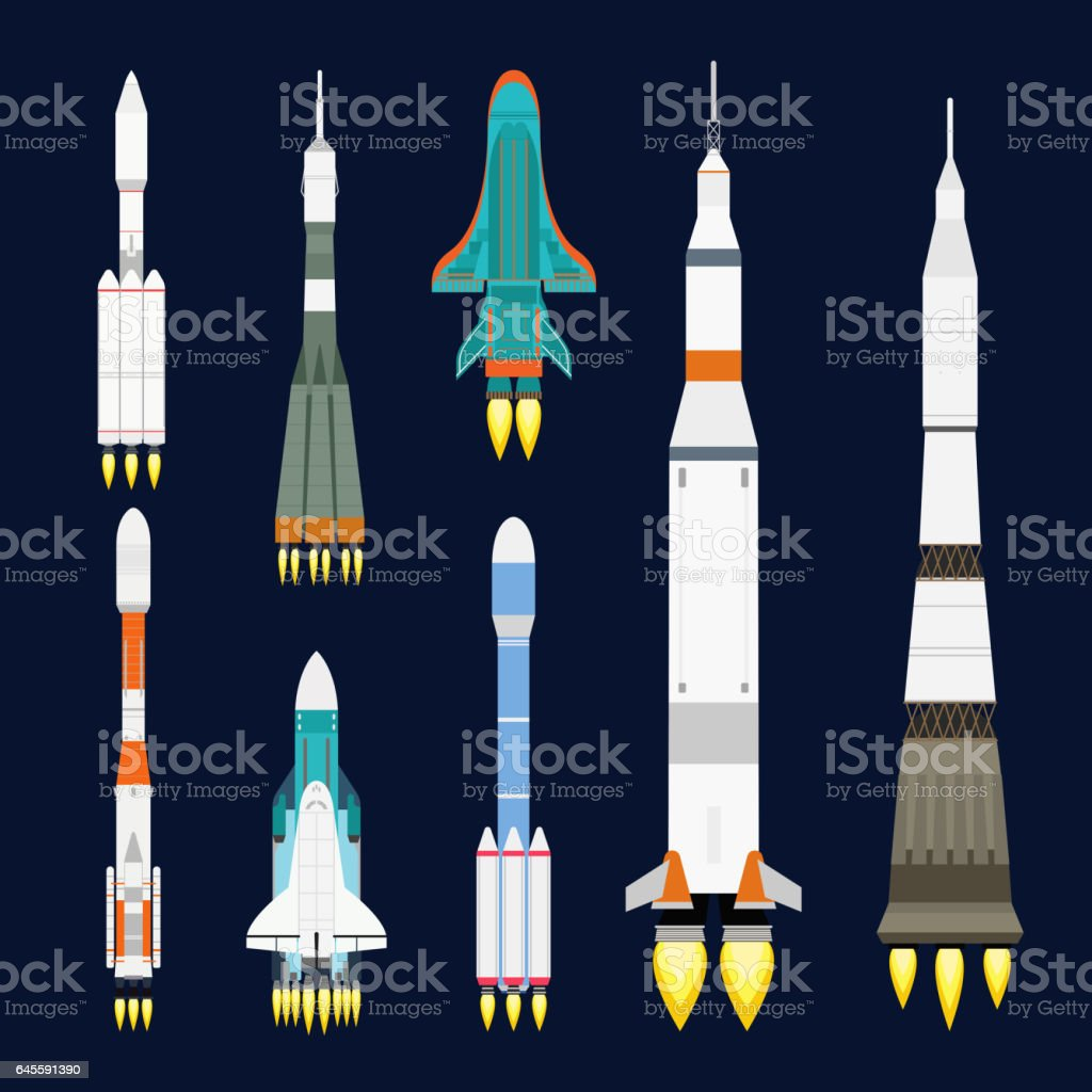 Vector technology ship rocket cartoon design for startup innovation product and cosmos fantasy space launch graphic exploration vector art illustration