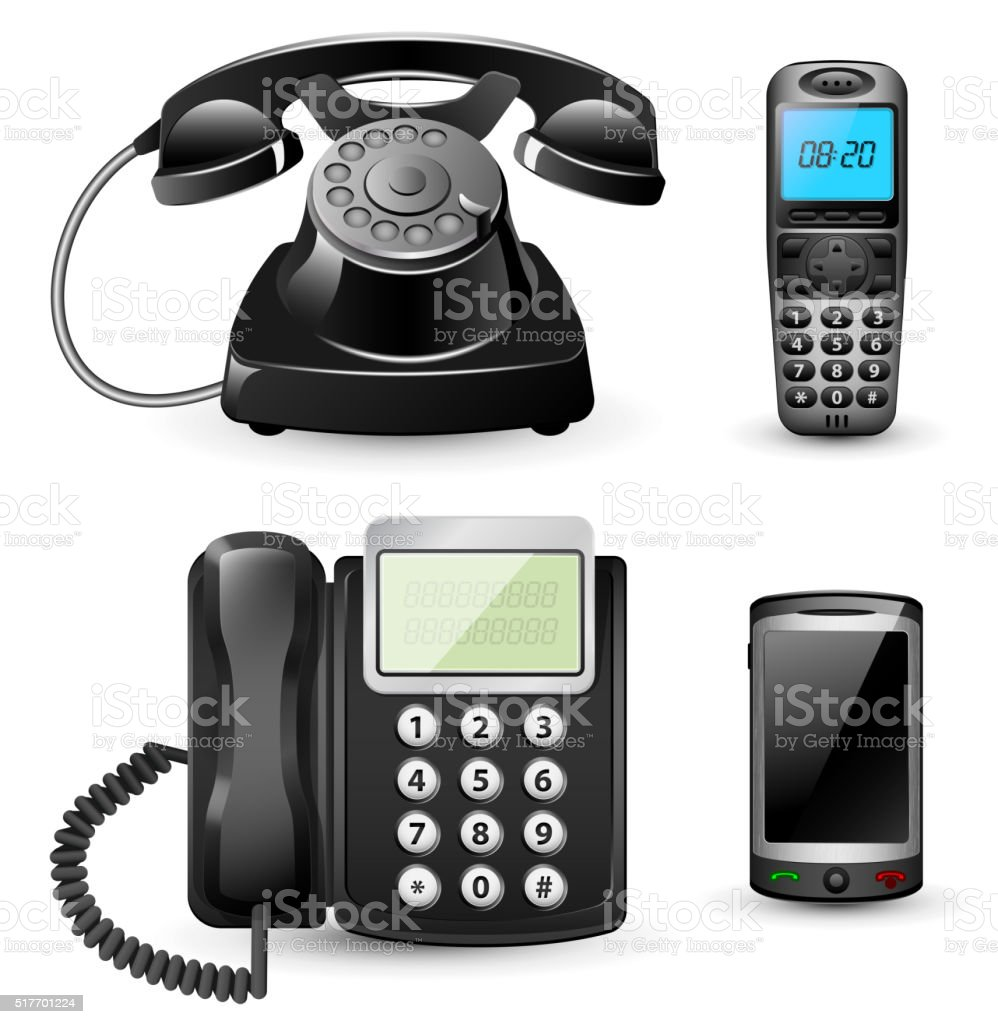 Vector telephone sets isolated on white vector art illustration