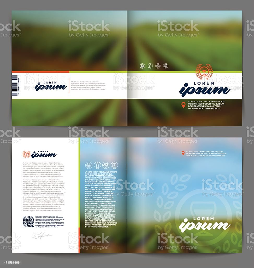 Vector template booklet page design - Wine and winemaking vector art illustration