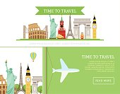 Vector template of advertising tourist banners.