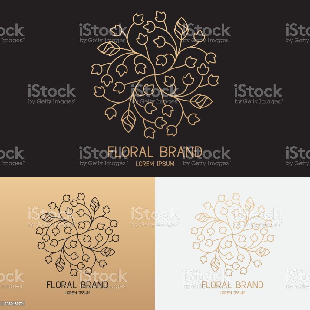 Vector template of floral logo in trendy linear style royalty-free stock vector art