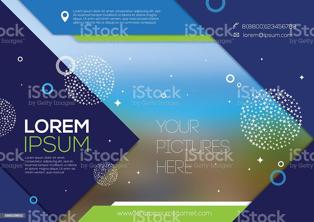 Vector template page design with abstract shape and elements vector art illustration