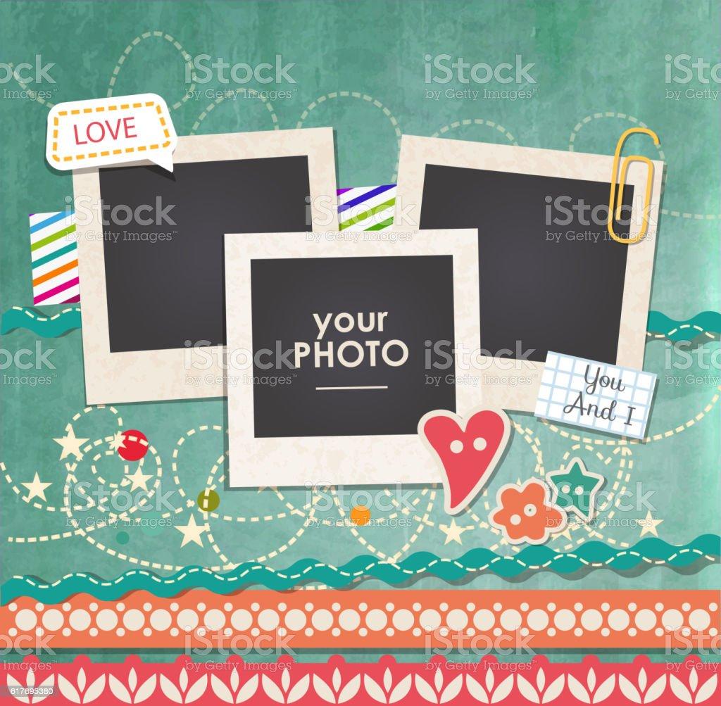 Vector template photo frame vector art illustration