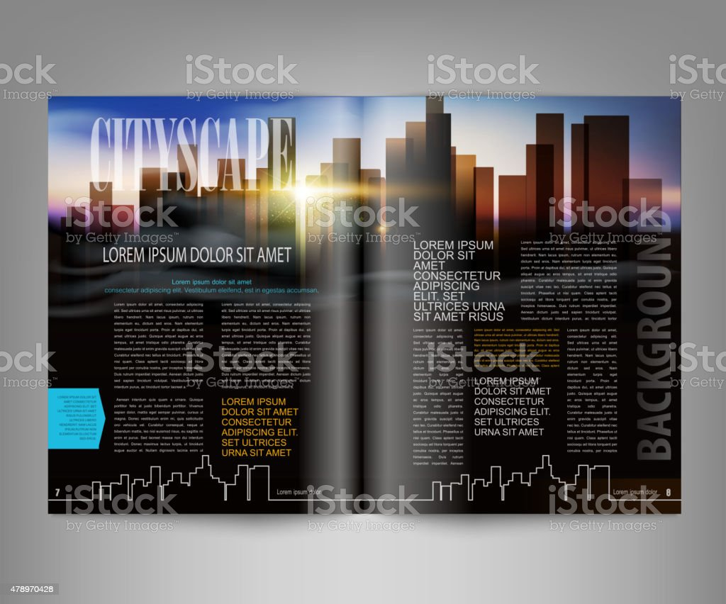 vector template print edition of the magazine with night city vector art illustration