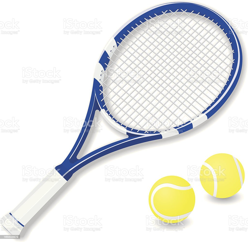 Vector tennis racket and balls vector art illustration