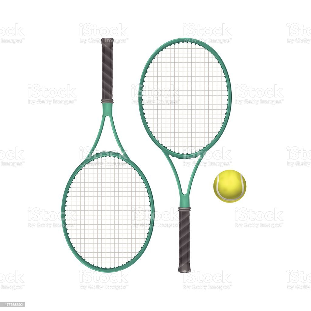 Vector Tennis Rackets with Ball Isolated on White Background vector art illustration