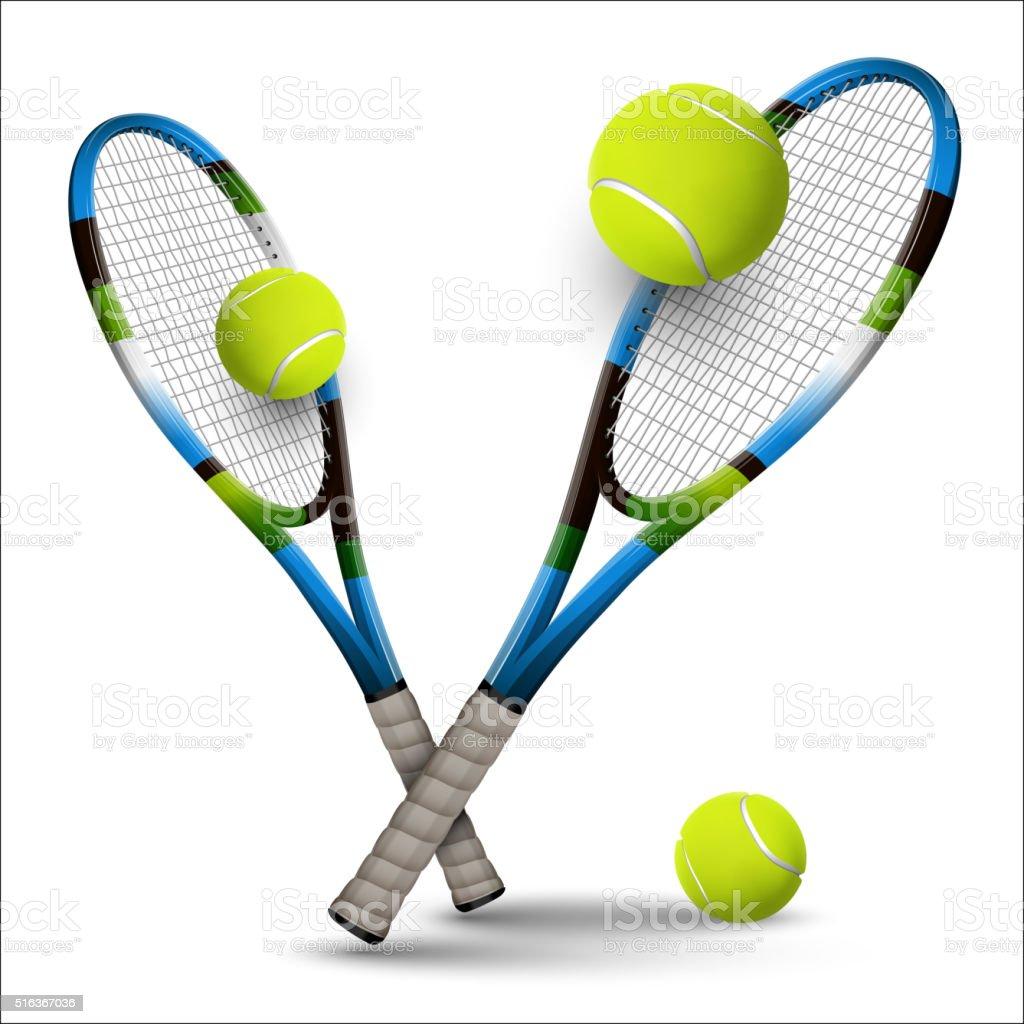 Vector tennis symbols as design elements, tennis balls, tennis r vector art illustration