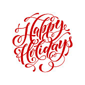 Vector text calligraphy Happy Holidays lettering design for greeting