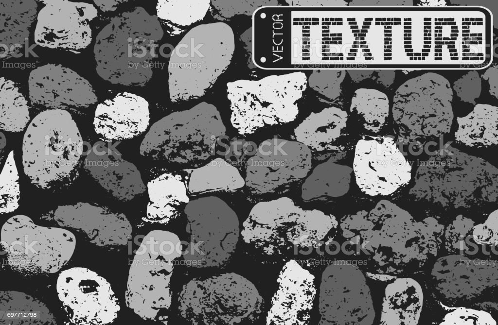 Vector texture of black and white stone coquina wall in cement. Vector illustration vector art illustration