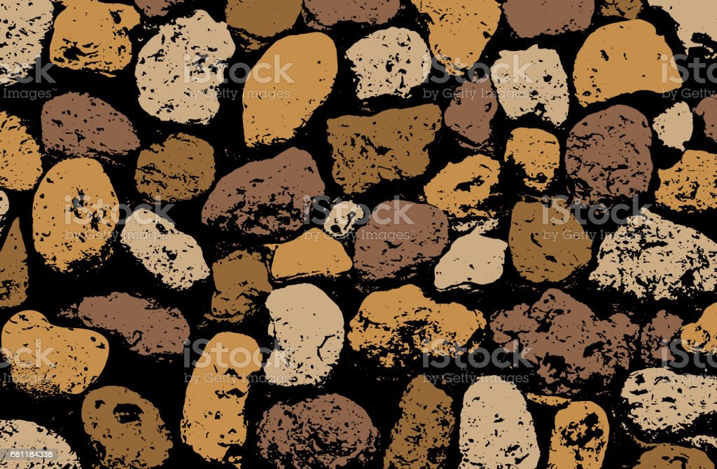Vector texture of multicolored stone coquina wall in cement. Vector illustration vector art illustration