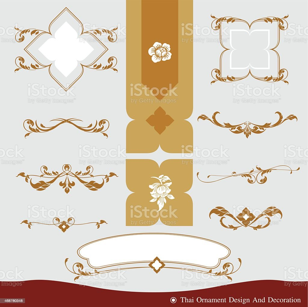 Vector Thai ornament illustration in gold and white colors vector art illustration