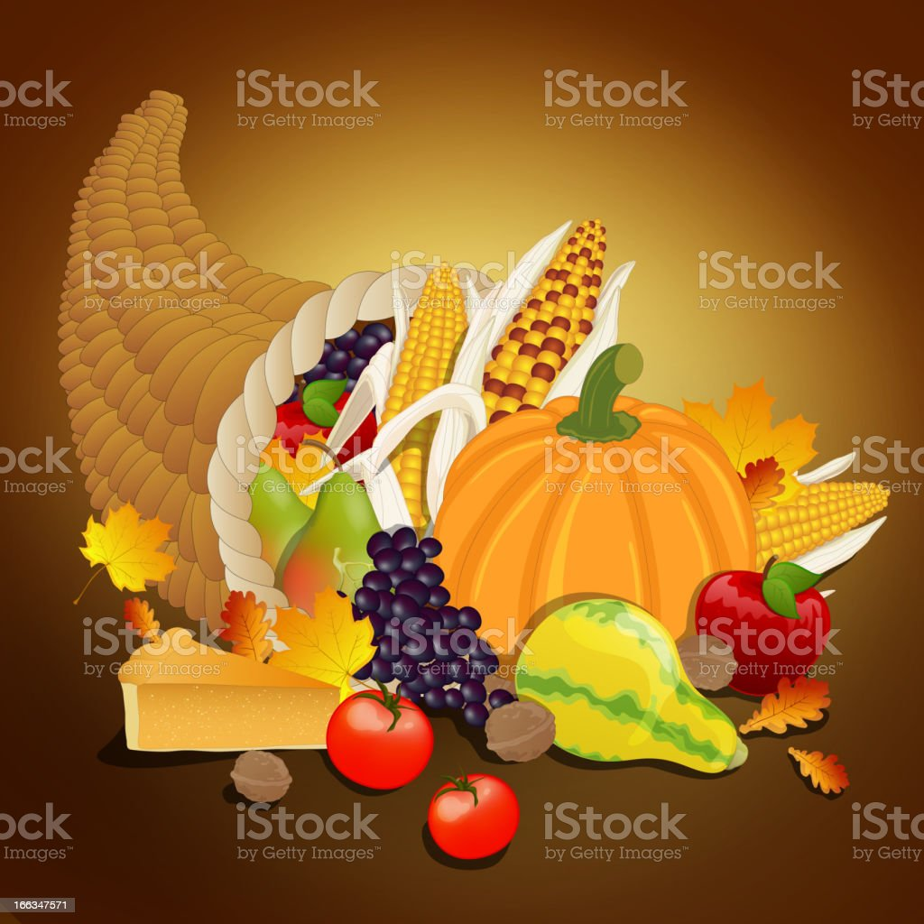 Vector Thanksgiving cornucopia royalty-free stock vector art