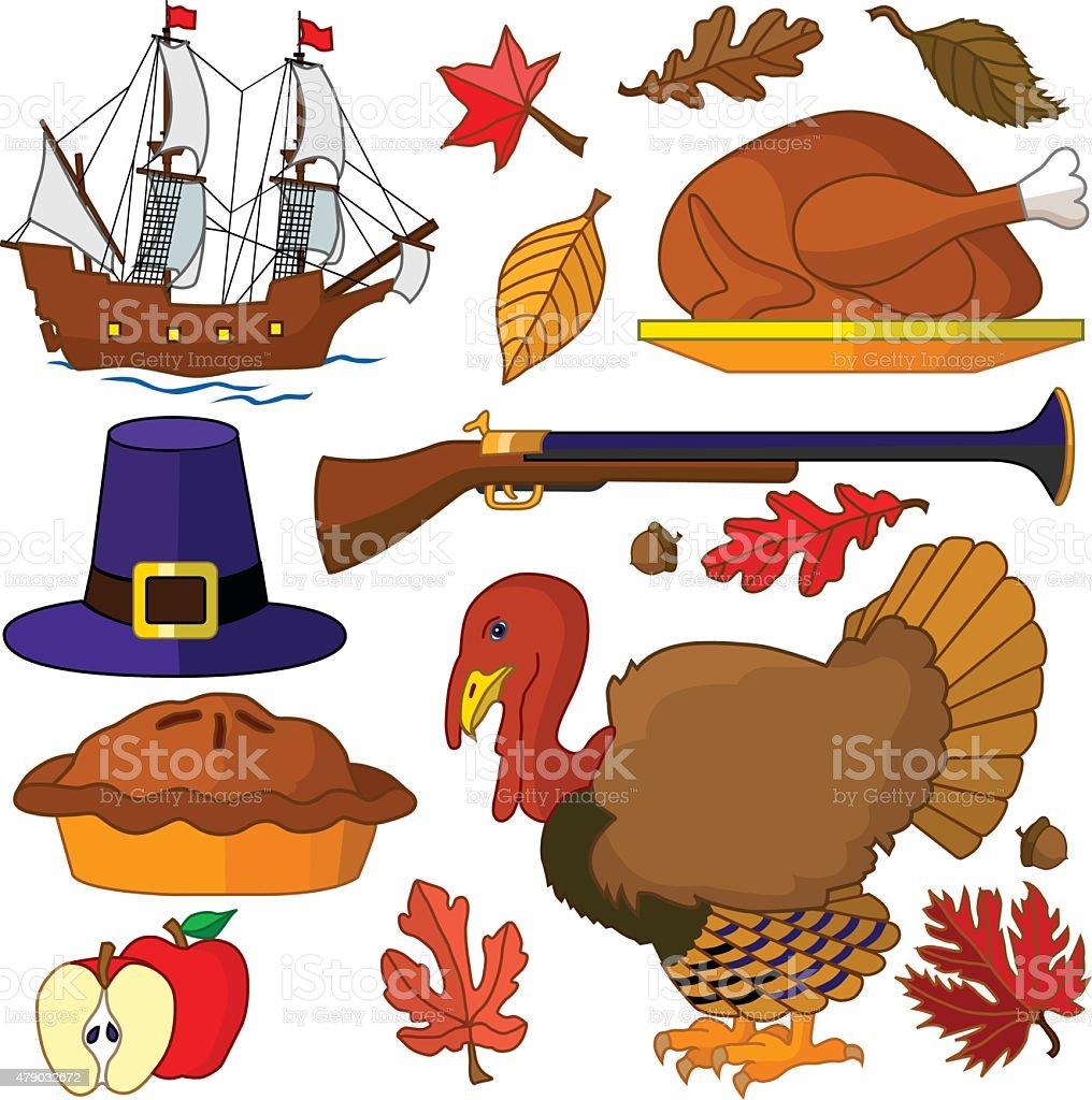 Vector Thanksgiving design elements in color vector art illustration