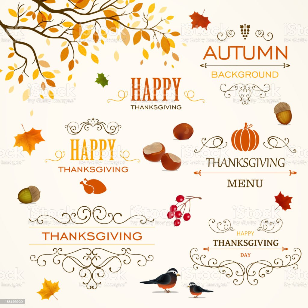 Vector Thanksgiving Design Elements vector art illustration