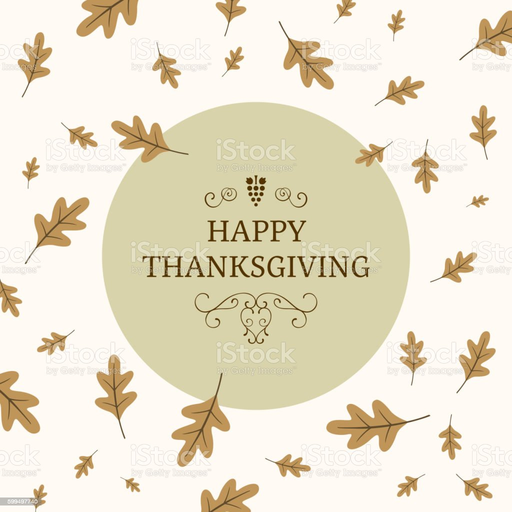 Vector Thanksgiving Greeting Card Design with Autumn Leaves vector art illustration