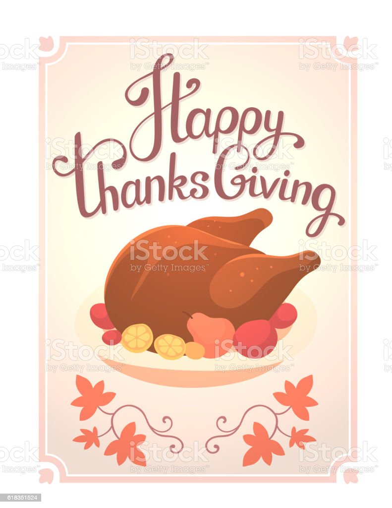 Vector thanksgiving illustration with deep fried turkey and text vector art illustration
