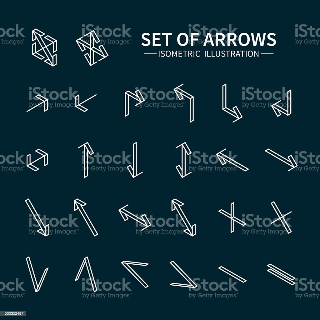 Vector thin icons set for and mobile. Line simple arrows. vector art illustration