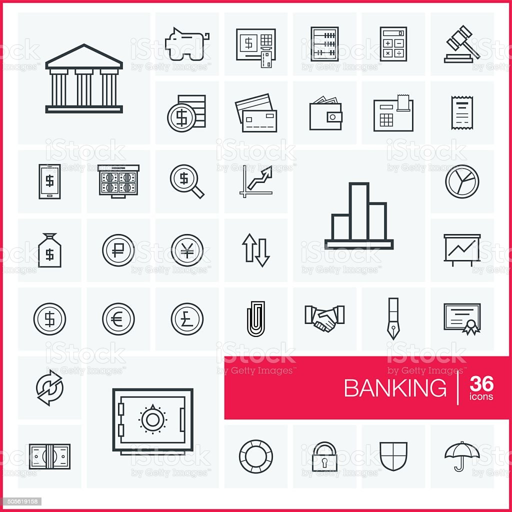 Vector thin line banking icons set and graphic design elements vector art illustration