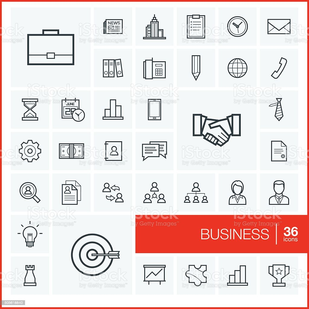 Vector thin line business icons set and graphic design elements. vector art illustration