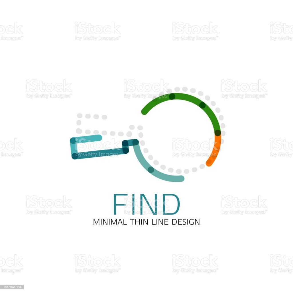 Vector thin line design icon magnifying glass, search and find vector art illustration